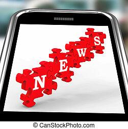 News On Smartphone Showing Online Journalism