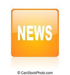 news orange square glossy web icon