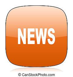 news orange square web design glossy icon