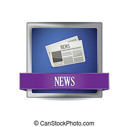 News paper icon button illustration