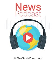 News podcast color vector illustration. Earth globe with...