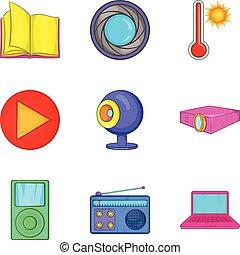 News portal icons set, cartoon style