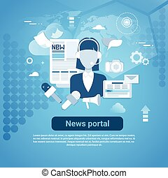 News Portal Web Banner With Copy Space On Blue Background...