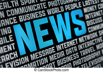 Digital poster with News headline and keywords on news theme. Selective focus on headline text.