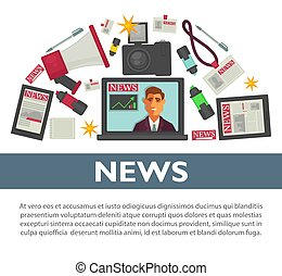 News poster flat vector design of TV reporter and journalist...