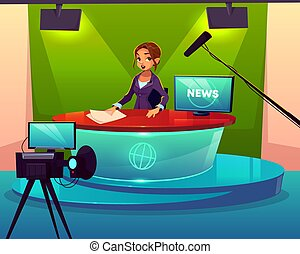 News presenter in television studio cartoon vector