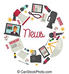News promotional posters with reportage creation equipment...