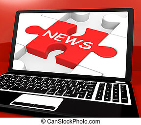 News Puzzle On Notebook Showing Digital Newspapers