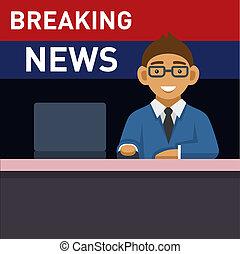 news., quebrar, computador, newscaster
