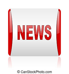 news red and white square web glossy icon