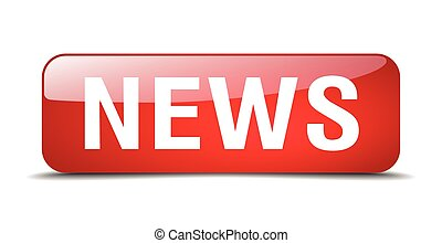 news red square 3d realistic isolated web button