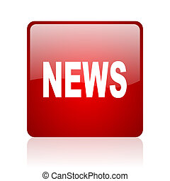news red square glossy web icon on white background
