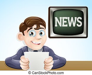 News reporter - An illustration of a studio television news...