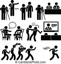 A set of pictograms representing newsroom talkshow, and news reporter.