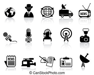 news reporter icons set - isolated news reporter icons set...