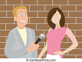 News Reporter Man - A vector of reporter is interviewing the...