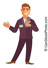 News reporter or journalist man with microphone vector flat...