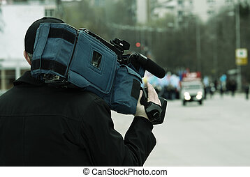 news reporter - special toned photo f/x, focus point on...