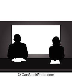 News Reporter - Silhouette illustration of reporter reading...