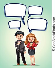 News reporter with speech bubbles