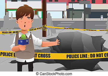 A vector illustration of news reporter working in the city