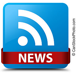 News (RSS icon) cyan blue square button red ribbon in middle