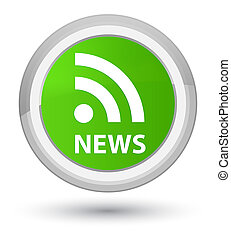 News (RSS icon) prime soft green round button