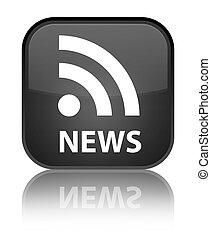 News (RSS icon) special black square button