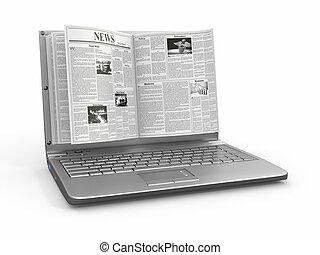 news., scherm, witte , draagbare computer, krant, ...