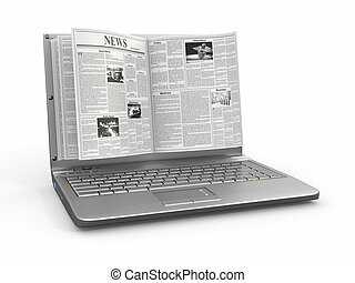 news., schirm, weißes, laptop, zeitung, hintergrund.