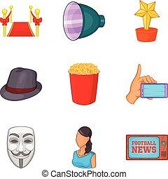 News show icons set, cartoon style