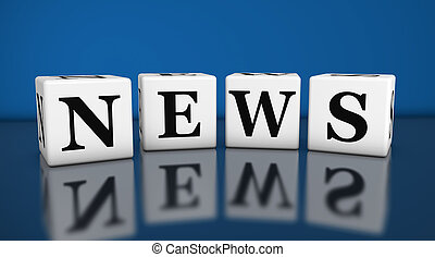 News Sign - News sign and word on cubes with reflection on...
