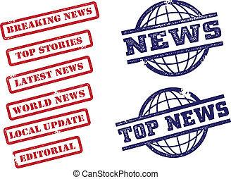 News Stamps - A selection of news story headers in stamp...