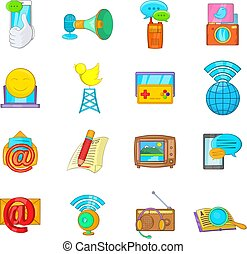 News story icons set, cartoon style