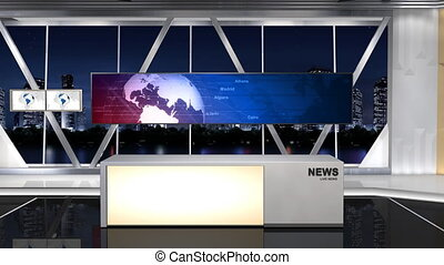 -This is a 3d News studio. It contains multiple camera angles, This is a part of the Series. -Contains 1 pull lens(8s) and 1 fixed focus lens(15s). -The fixed focus lens are looping