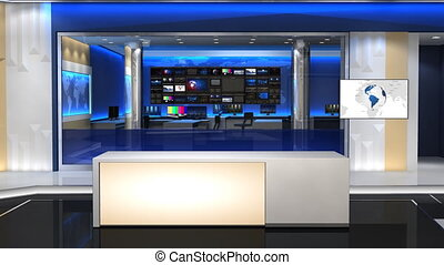 News studio 101C1 - This is a 3d News studio. It contains ...