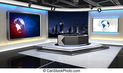 News Studio 99C1 - This is a 3d News studio. It contains ...
