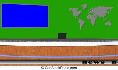 news studio animation on green screen video