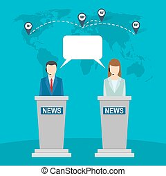 Two banners of world tv news anchors flat banners tv news clip news studio on background of the world map two anchors gumiabroncs Image collections