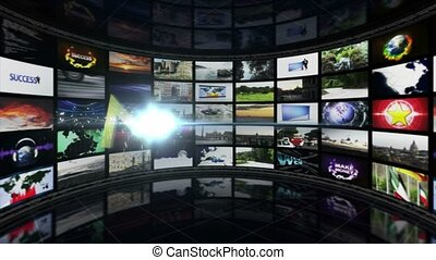 NEWS Text Animation and Monitors Room, Rendering, Background, Loop, 4k