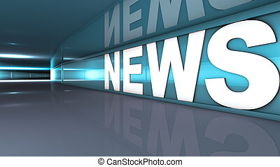 News text - Rendering of a white news text in a tunnel