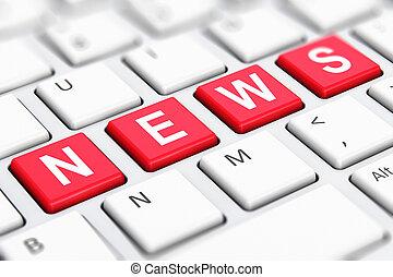 News text word on computer keyboard keys