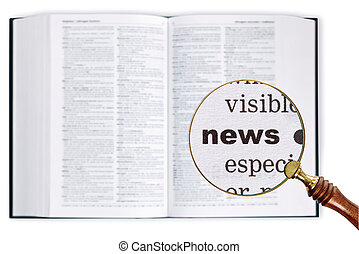 News through a magnifying glass over Dictionary.