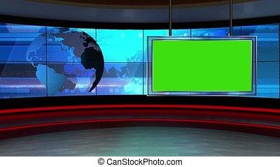 News TV Studio Set 24 - Virtual Green Screen