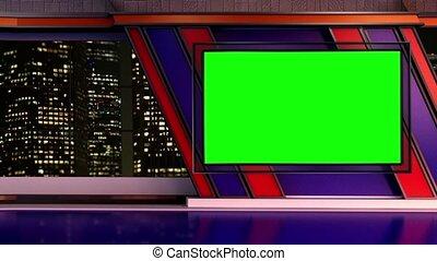 News TV Studio Set 251 - Virtual Green Screen Background...