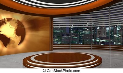 News TV Studio Set 252 - Virtual Green Screen Background...