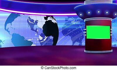News TV Studio Set 258- Virtual Green Screen Background Loop...