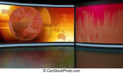 News TV Studio Set 261- Virtual Green Screen Background Loop...