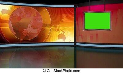 News TV Studio Set 262- Virtual Green Screen Background Loop...