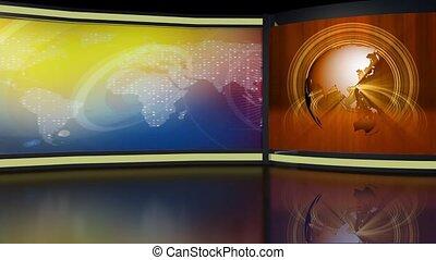 News TV Studio Set 264- Virtual Green Screen Background Loop...